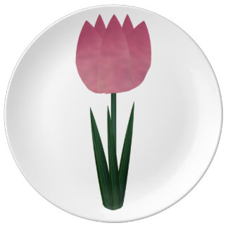 Pink Patchwork Tulip Large Porcelain Plate