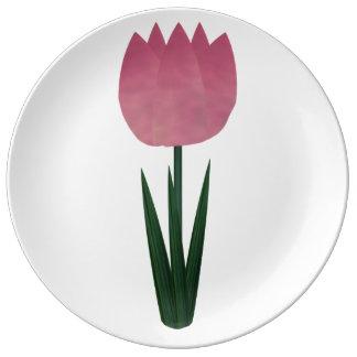 Pink Patchwork Tulip Large Porcelain Plate Porcelain Plate