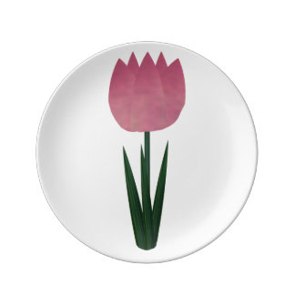 Pink Patchwork Tulip Small Porcelain Plate Porcelain Plate