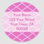 pink pattern address labels round sticker