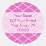 pink pattern address labels round stickers