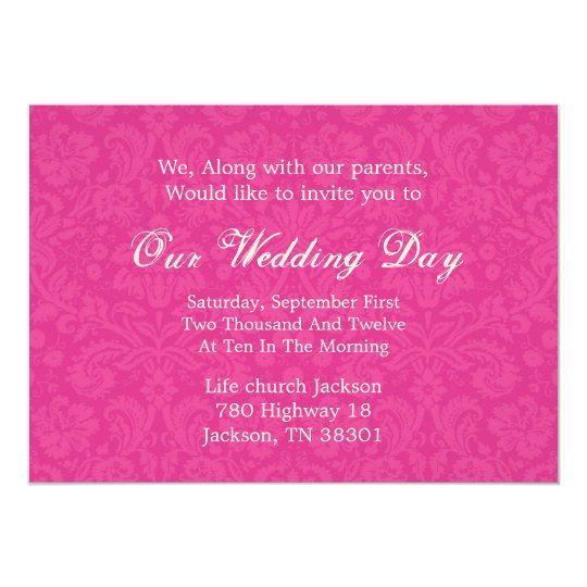 Pink Pattern Background  Wedding Invites