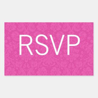 Pink Pattern Background Wedding RSVP Stickers