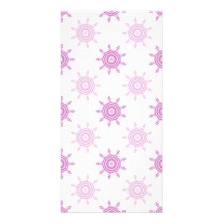 Pink Pattern Fractal Circles Photo Card