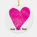 Pink Pattern Heart Christmas Ornament