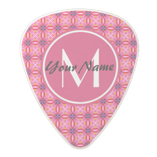 Pink Pattern Monogrammed Polycarbonate Guitar Pick