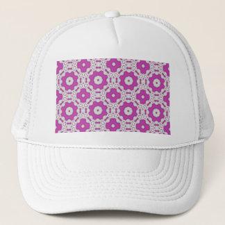 Pink pattern tile trucker hat
