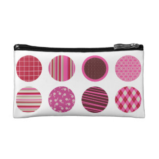 Pink Patterned Circles Personalized Cosmetic Bag