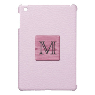 Pink Patterned Image, with Custom Monogram Letter iPad Mini Cases