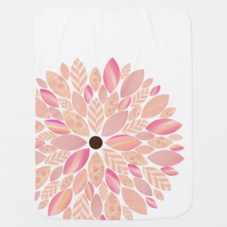 Pink Patterned Petal Flower Baby Blanket