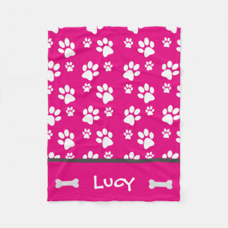 Pink Paw Print Blanket Great for Dogs