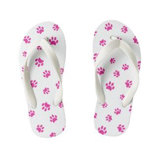 Pink Paw Prints Pattern Flip Flops