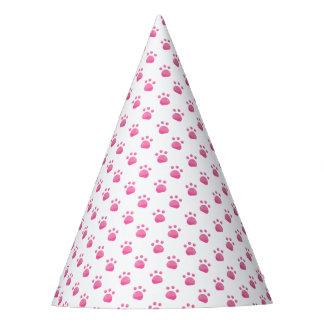 Pink Paw Prints Pattern Party Hat