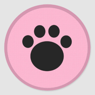 Pink Paw Round Sticker