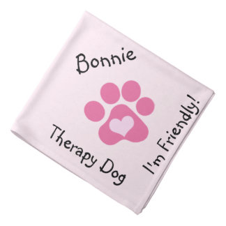 Pink Paw Therapy Dog Neckerchief Bandana