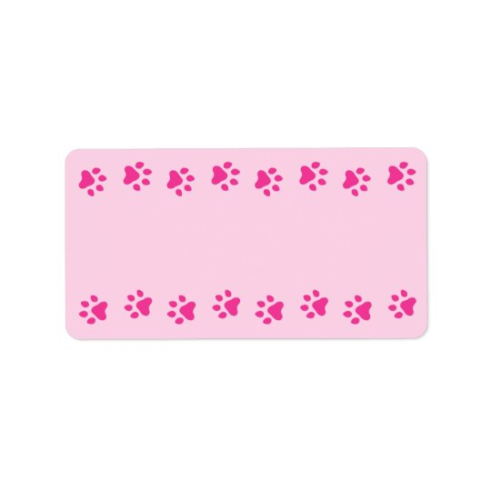 Pink pawprint border pet dog or cat cute
