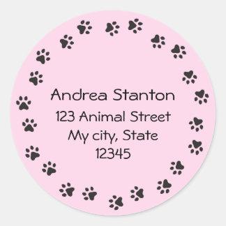 Pink pawprint circle address label round sticker