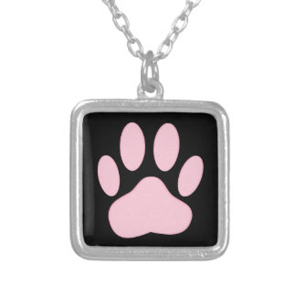 Pink Pawprint Silver Plated Necklace
