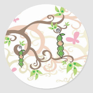 Pink Pea In A Pod Girl Baby Shower Sticker