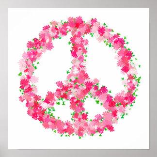 Pink Peace Flowers Print