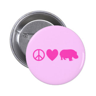 Pink Peace Love and Hippos 6 Cm Round Badge