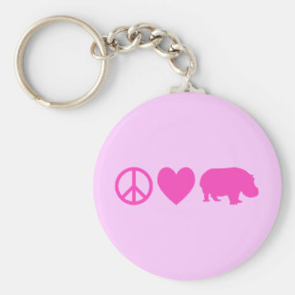 Pink Peace Love and Hippos Basic Round Button Key Ring