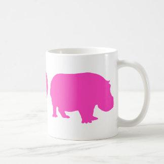 Pink Peace Love and Hippos Basic White Mug