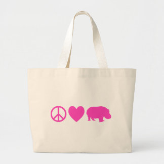 Pink Peace Love and Hippos Jumbo Tote Bag
