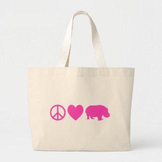 Pink Peace Love and Hippos Jumbo Tote Bag