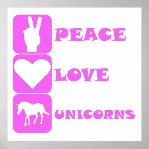 Pink Peace Love Unicorns Poster