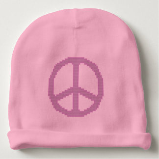Pink Peace Sign Baby Beanie
