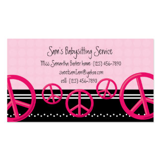 Pink Peace Sign Babysitter or Mommy Calling Card Business Card