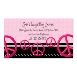 Pink Peace Sign Babysitter or Mummy Calling Card Pack Of Standard Business Cards