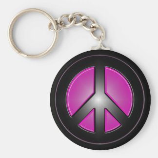 pink peace sign key ring