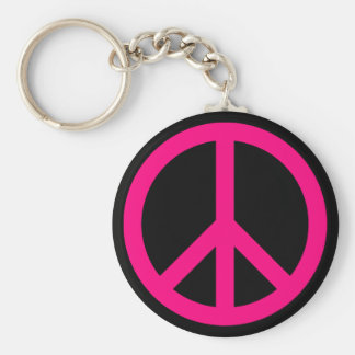 Pink Peace Sign Keychain