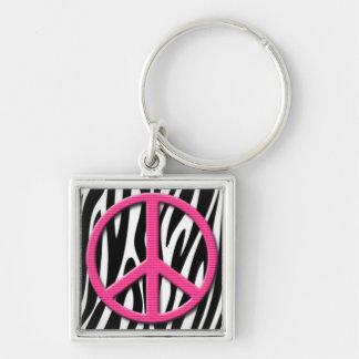 Pink Peace Sign on Zebra Stripes Pattern Key Ring