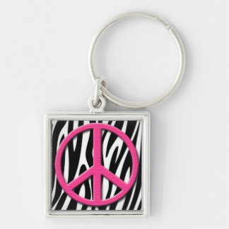 Pink Peace Sign on Zebra Stripes Pattern Silver-Colored Square Key Ring