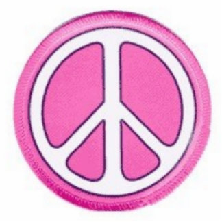 PINK PEACE SIGN STANDING PHOTO SCULPTURE