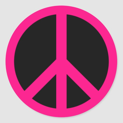Pink Peace Sign Sticker