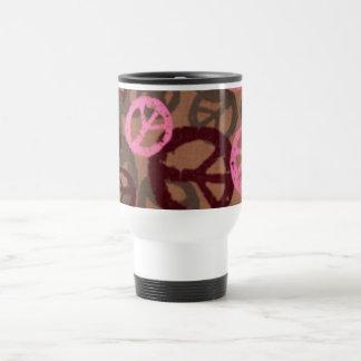 Pink Peace Signs Travel Mug