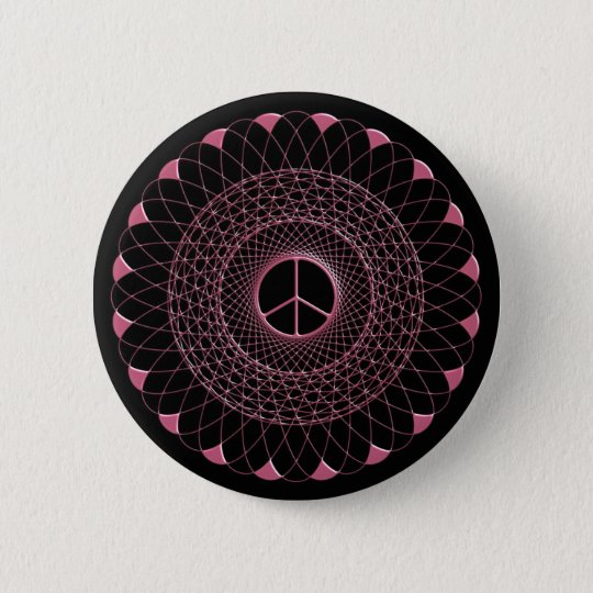 PINK PEACE SPIRAL 6 CM ROUND BADGE
