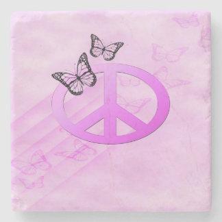 Pink Peace Stone Coaster