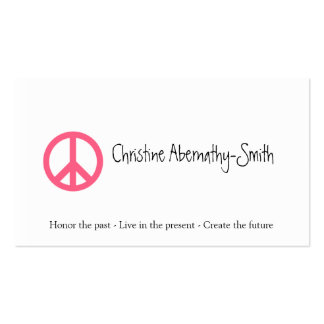 Pink Peace Symbol Business Card