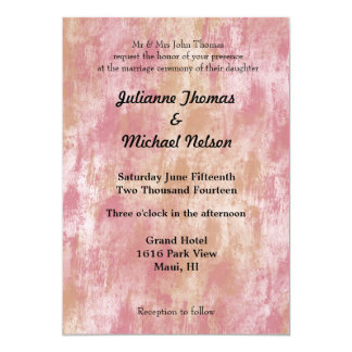 """Pink Peach Abstract 5"""" X 7"""" Invitation Card"""