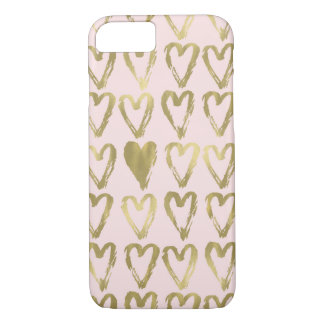 Pink Peach and Gold Hearts iPhone 8/7 Case