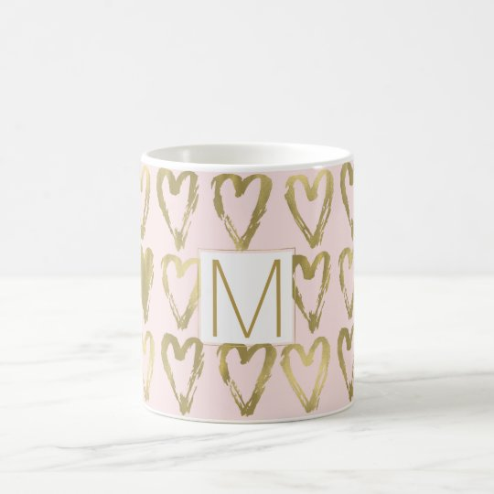 Pink Peach and Gold Hearts Monogram Coffee Mug
