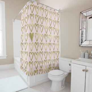 gold and pink shower curtain. pink peach and gold hearts shower curtain