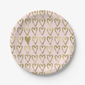 Pink Peach and Gold Hearts Wedding 7 Inch Paper Plate