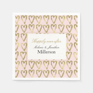 Pink Peach and Gold Hearts Wedding Disposable Napkins