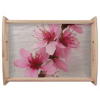 Pink Peach Blossom Serving Tray